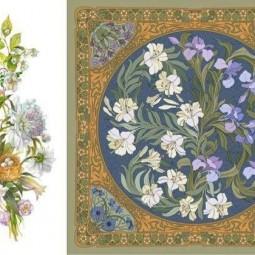 Ботанический платок. Диалог цветка и художника.
