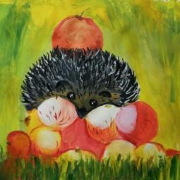 Виртуальная выставка детских рисунков «Жили-были ежики»