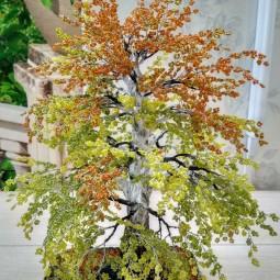 «Осенняя берёза » создание бисерного дерева 2 часть